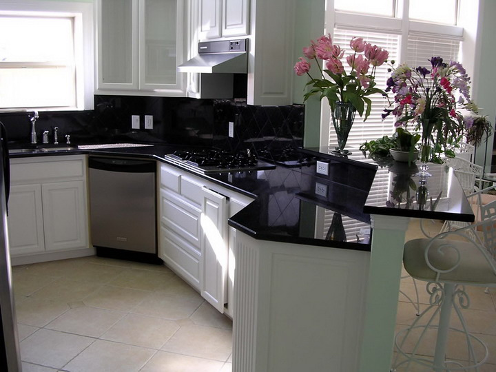 Black color kitchen counter top