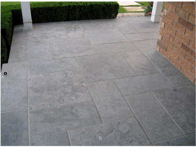 flamed blue limestone paving and steps