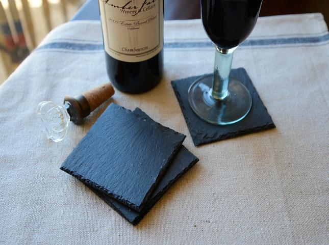 Hardness quality black mustang slate coaster