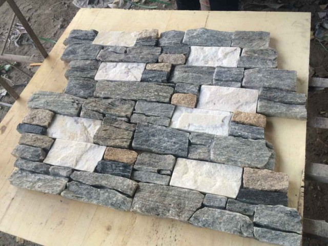 natural slate quartz stacked stone wall cladding