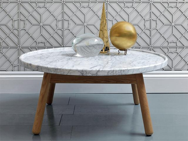 "36"" round and exquisite white color marble table top"